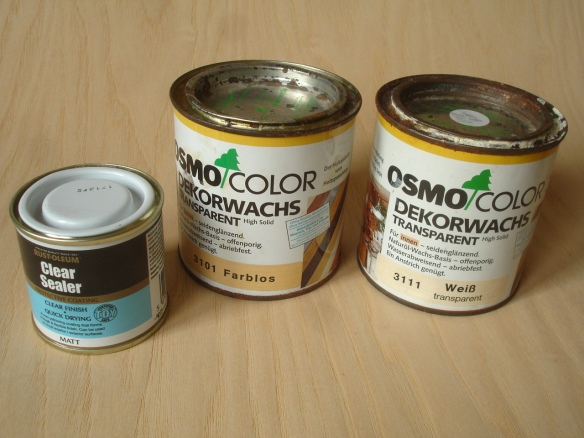 David Neat, wood treatments compared - RustOleum clear sealer and Osmo wax