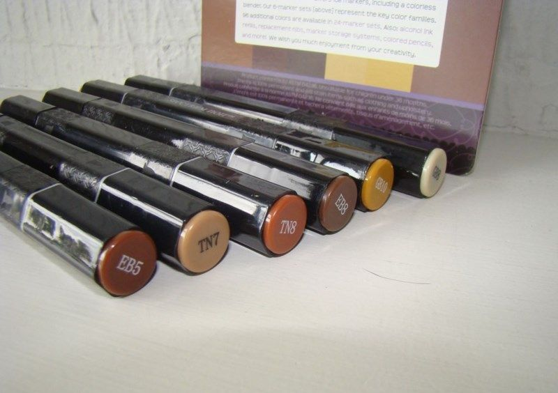 Spectrum Noir markers, selection of 'browns' ideal for model wood staining