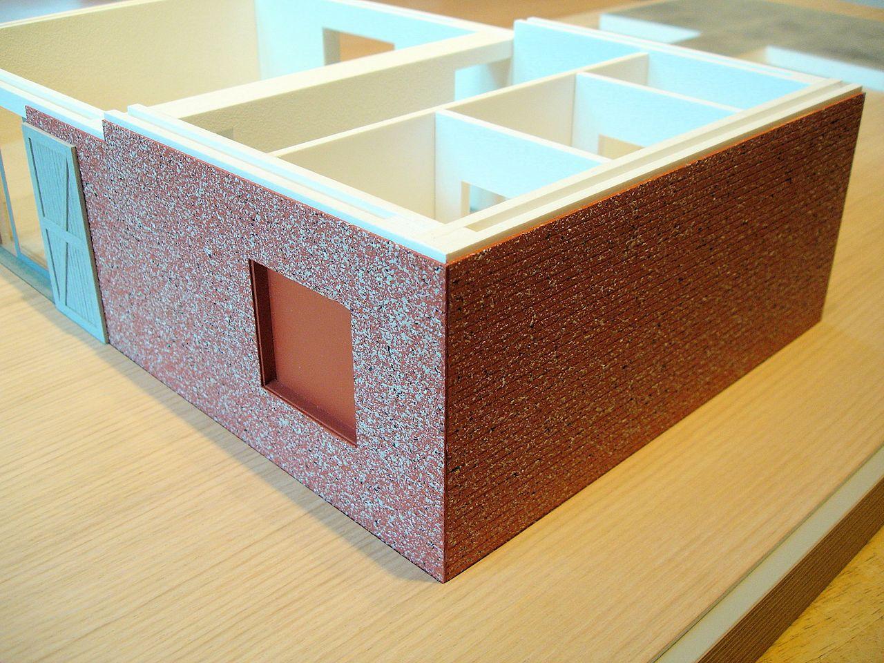 David Neat model-maker, architectural model 2018, generalised brickwork effect