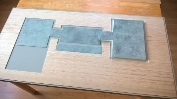 David Neat model-maker, architectural model 2018, baseboard with 'polished concrete' floor areas and veneer surround