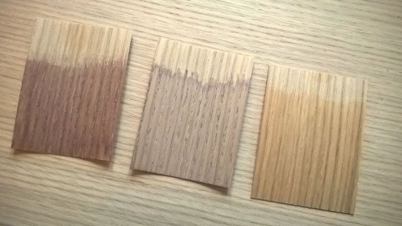 David Neat, samples using different sealers on oak veneer