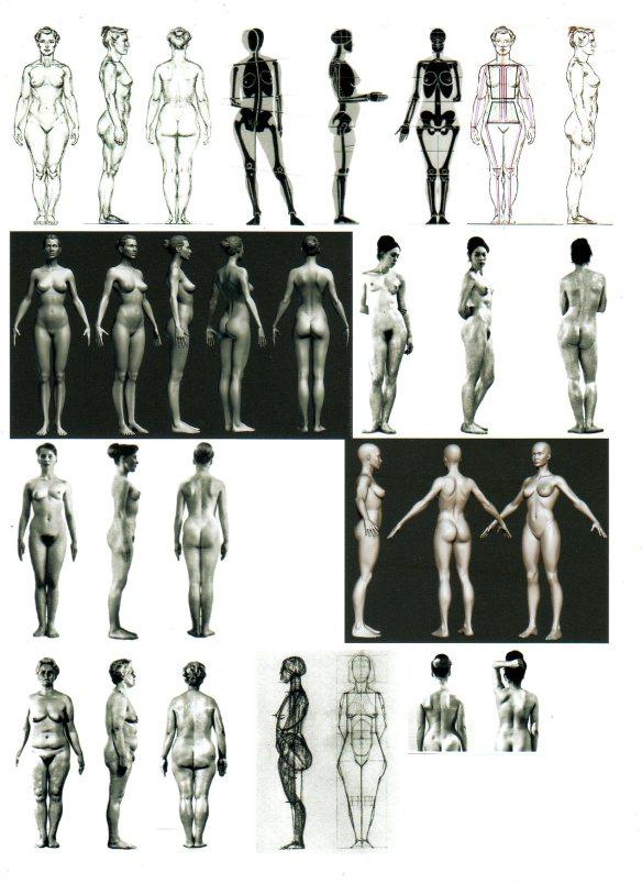 David Neat, model-maker, female figure modelling reference sheet, 1:25 scale