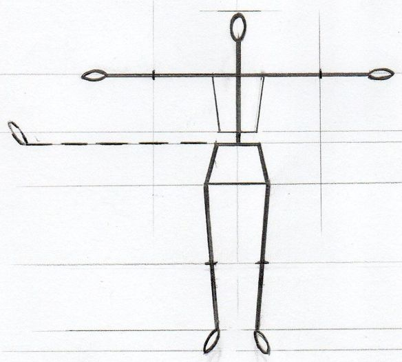 David Neat, model-maker, 1:20 scale female figure armature template, 2019