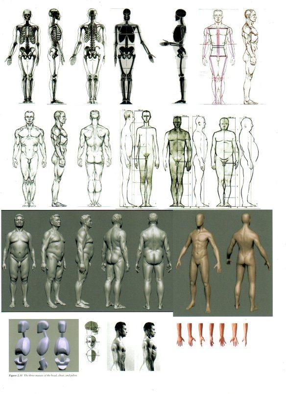 David Neat, male figure ref sheet, 1:25 scale