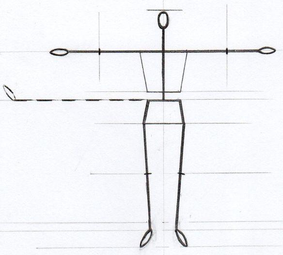 David Neat, model-maker, 1:20 scale male figure armature template, 2019