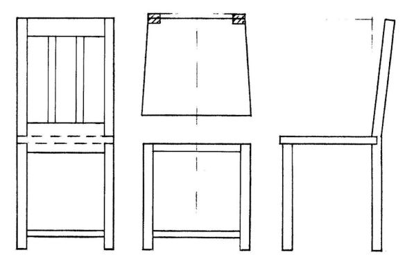 David Neat, model-maker, 1:20 scale template drawing for chair making (2), 2019