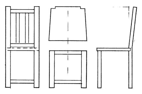 David Neat, model-maker, 1:20 scale template drawing for chair making, 2019