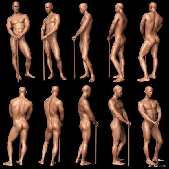 David Neat, model-maker, male figure modelling reference, 2019