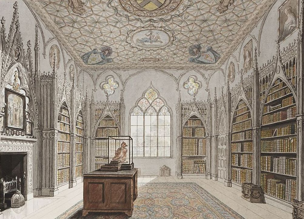 Library at Strawberry Hill, watercolour original by John Carter 1784