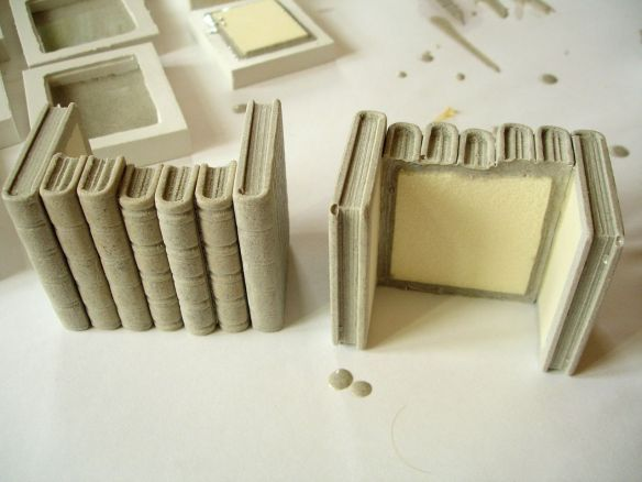 David Neat, props for stop-motion animation, 'blocks' of shelf books being made